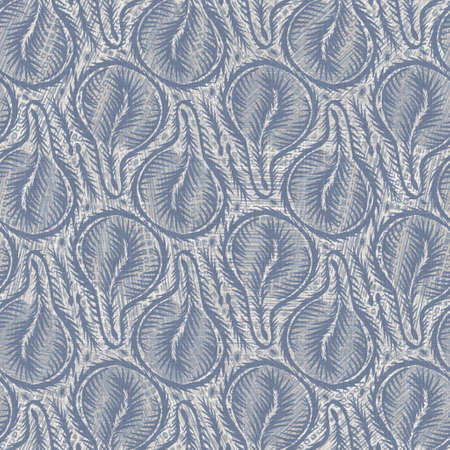 Seamless french farmhouse linen geometric block print background. Provence blue gray rustic pattern texture. Shabby chic style old woven blur textile all over print. 免版税图像