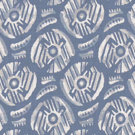 Seamless french farmhouse dotty linen pattern. Provence blue white woven texture. Shabby chic style decorative circle dot fabric background. Textile rustic all over print