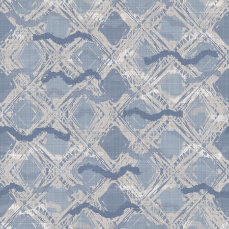 Seamless french blue white farmhouse style gingham texture. Woven linen check cloth pattern background. Tartan plaid closeup weave fabric for kitchen towel material. Checkered fiber picnic table cloth