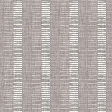 Seamless gray french woven linen rope stripe texture background. Farmhouse ecru flax hemp fiber natural pattern. Organic yarn close up weave fabric. Ecru greige cloth textured rough material 免版税图像