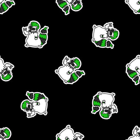 Cute punk rock raccoon on black background vector pattern. Grungy alternative checkered home decor with cartoon animal. Seamless rocker attitude all over print.