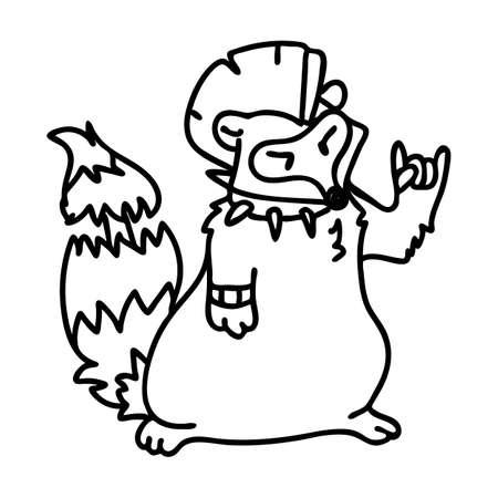 Punk rock raccoon with mohawk illustration clipart. Simple alternative sticker. Kids emo rocker cute hand drawn cartoon animal motif.