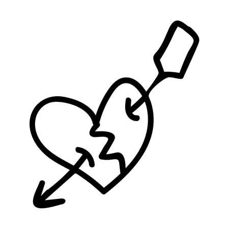 Punk rock heart lineart vector illustration. Simple alternative sticker clipart. Kids emo rocker cute hand drawn cartoon grungy tattoo with attitude motif.