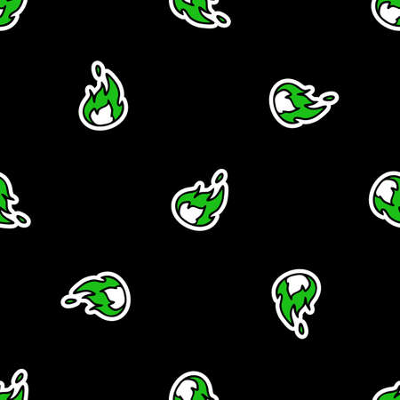 Cute punk rock flame background vector pattern. Grungy alternative checkered home decor with cartoon. Seamless rocker attitude all over print.