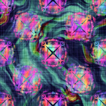 Blurry rainbow glitch artistic geo shape texture background. Irregular bleeding watercolor tie dye seamless pattern. Ombre distorted boho batik all over print. Variegated trendy dripping wet effect.