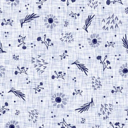 Indigo blue flower block print dyed linen texture background. Seamless woven japanese repeat batik pattern swatch. Floral organic distressed blur block print all over textile.