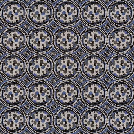 Seamless dark dotty linen background. Moody dye wash circle texture. Mid century 50s soft furnishing fabric style. Masculine winter spot pattern fabric all over print 免版税图像