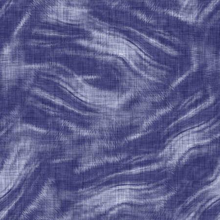 Seamless indigo mottled texture. Blue woven boro cotton dyed effect background. Japanese repeat batik resist pattern. Distressed tie dye bleach. Asian fusion allover kimono textile. Worn cloth print 免版税图像