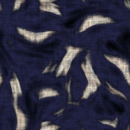Seamless sepia grunge tie dye blob print texture background. Worn mottled blotch pattern textile fabric. Grunge rough blur linen cloth all over print. Dark indigo dye material.