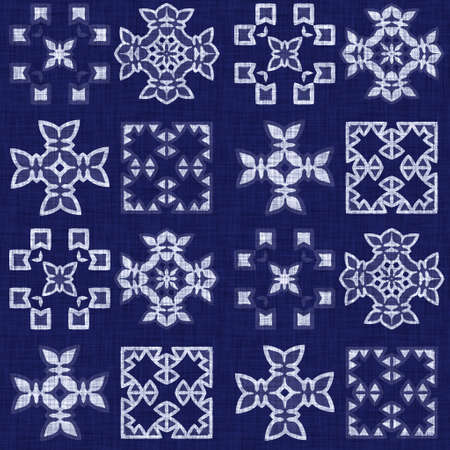 Seamless indigo damask texture. Navy blue woven ornate cotton dyed effect background. Japanese repeat batik resist pattern. Asian fusion all over textile blur cloth print. 免版税图像
