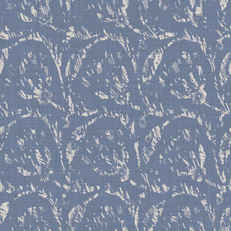 Seamless french farmhouse linen printed floral damask background. Provence blue gray linen pattern texture. Shabby chic style woven blur background. Textile rustic all over print 免版税图像
