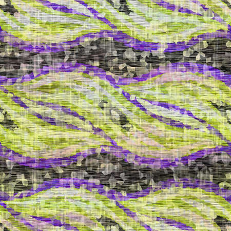 Seamless distressed mottled tie dye striped texture background. Distressed boho blur washed pattern. Blotched aged lime yellow purple cloth effect. Ragged old mash up stripe all over print. 免版税图像