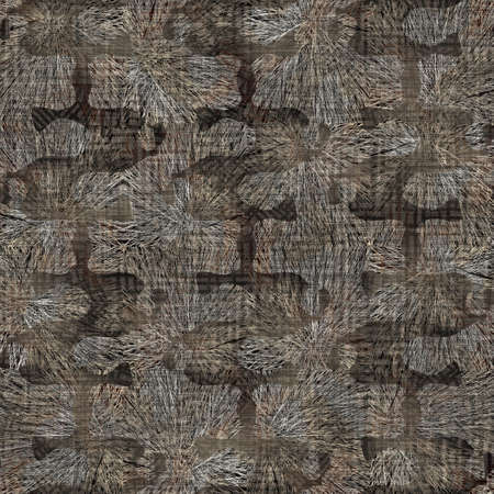Seamless modern sepia camo print texture background. Worn mottled camouflage skin pattern textile fabric. Grunge rough blur linen all over print