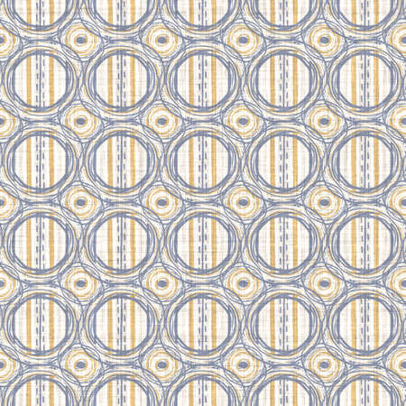 Seamless french blue yellow farmhouse style polka dot texture. Woven linen cloth pattern circle background. Dotted closeup weave fabric for kitchen towel material.