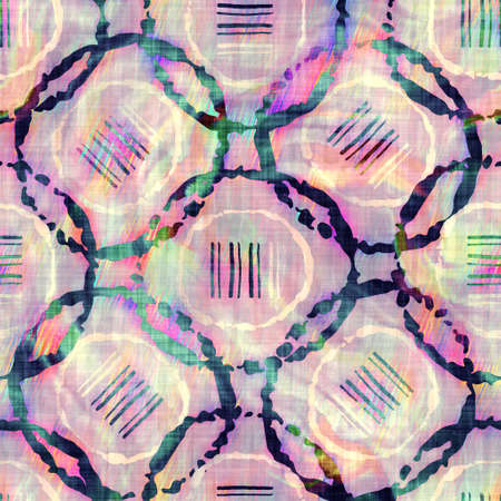 Blurry rainbow glitch artistic dot texture background. Irregular bleeding watercolor tie dye seamless pattern. Ombre distorted boho circle all over print. Variegated trendy dripping wet effect.