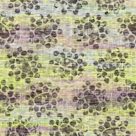 Seamless distressed mottled tie dye woven texture background.Distressed boho blur washed pattern. Blotched aged lime yellow purple cloth effect. Ragged old mash up painterly collage all over print.