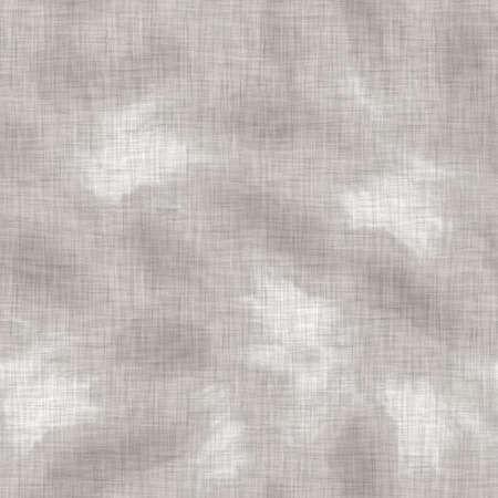 Seamless gray french woven linen wave stripe background. Ecru flax hemp fiber natural pattern. Organic yarn close up weave fabric material. Ecru greige neutral striped wavy line textile cloth. 免版税图像