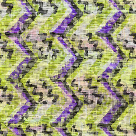 Seamless distressed mottled tie dye striped texture background. Distressed boho blur washed pattern. Blotched aged lime yellow purple cloth effect. Ragged old mash up stripe all over print. Zdjęcie Seryjne