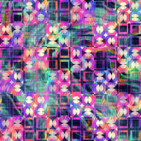 Blurry rainbow glitch artistic geo shape texture background. Irregular bleeding watercolor tie dye seamless pattern. Ombre distorted boho batik all over print. Variegated trendy dripping wet effect. Stock fotó