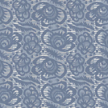 Seamless french farmhouse linen printed floral damask background. Provence blue gray linen pattern texture. Shabby chic style woven blur background. Textile rustic all over print 写真素材
