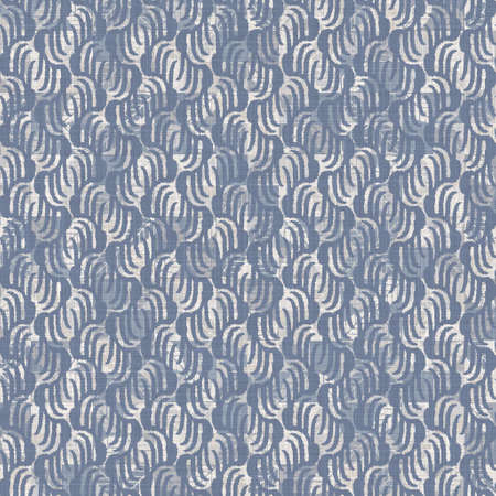 Seamless french farmhouse linen summer block print background. Provence blue gray linen rustic pattern texture. Shabby chic style old woven flax blur. Textile all over print. 写真素材