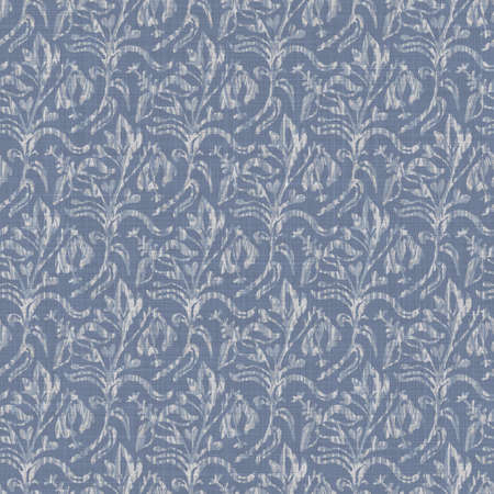 Seamless french farmhouse damask linen pattern. Provence blue white woven texture. Shabby chic style decorative fabric background. Textile rustic all over print 写真素材