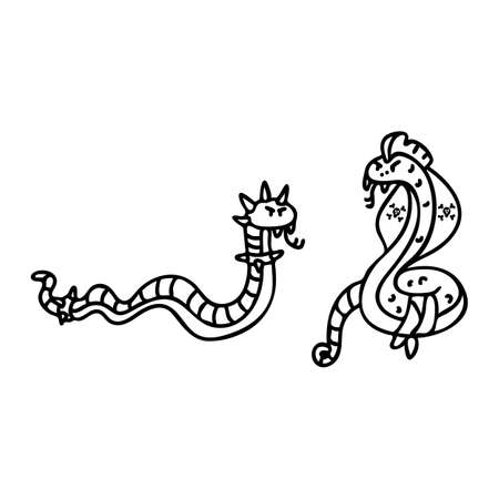 Punk rock snake and cobra monochrome lineart illustration clipart. Simple alternative sticker. Kids emo rocker coloring page cute hand drawn cartoon animal motif.