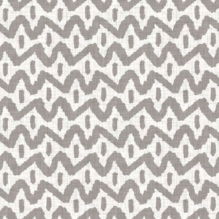 Seamless gray french woven linen rope stripe texture background. Farmhouse ecru flax hemp fiber natural pattern. Organic yarn close up weave fabric. Ecru greige cloth textured rough material Archivio Fotografico