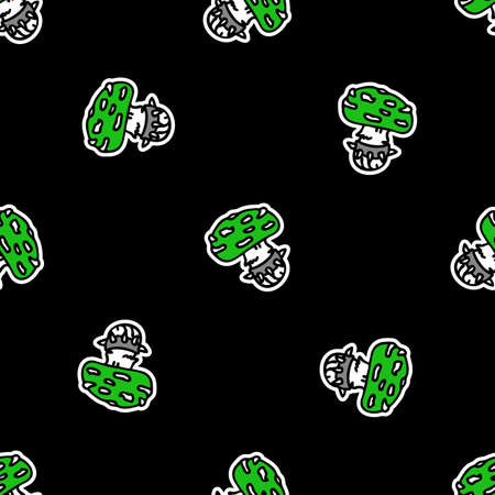 Cute punk rock fly agaric mushroom on black background vector pattern. Grungy alternative home decor with cartoon poisonous forest fungi. Seamless rocker attitude all over mycology print. Standard-Bild - 157125299
