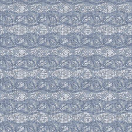 Seamless french farmhouse woven linen stripe texture. Ecru flax blue hemp fiber. Natural pattern background. Organic ticking fabric for kitchen towel material. Pinstripe material allover print 写真素材