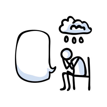 Hand drawn stickman sad crying concept with speech bubble. Simple outline mental health doodle icon clipart. For depression awareness sketch illustration.