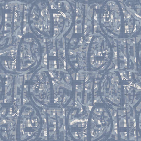 Seamless french farmhouse linen summer block print background. Provence blue gray linen rustic pattern texture. Shabby chic style old woven flax blur. Textile all over print. Banco de Imagens