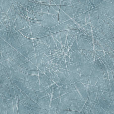 Seamless scratched ice surface background. Frozen water skating line marks on cool blue texture. Winter slippery weathered frosty seamless pattern. Icy crystal all over print.