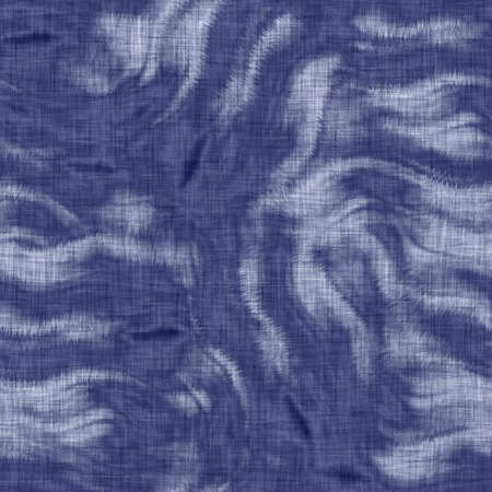 Seamless indigo mottled texture. Blue woven boro cotton dyed effect background. Japanese repeat batik resist pattern. Distressed tie dye bleach. Asian fusion allover kimono textile. Worn cloth print Banco de Imagens