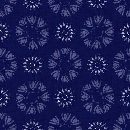 Seamless indigo damask texture. Navy blue woven ornate cotton dyed effect background. Japanese repeat batik resist pattern. Asian fusion all over textile blur cloth print. Banco de Imagens
