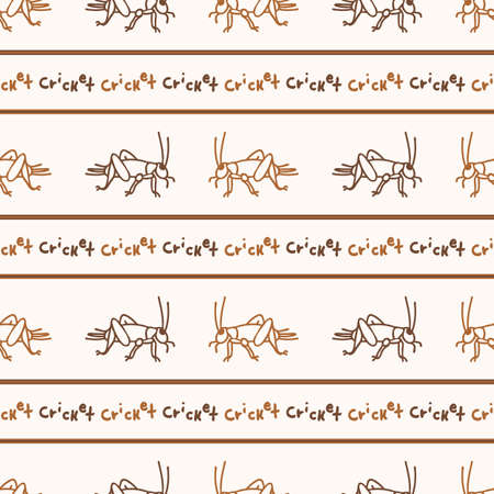 Seamless background cricket insect stripe gender neutral pattern. Whimsical minimal earthy 2 tone color. Kids nursert wallpaper or boho cartoon bug fashion all over print. Vectores