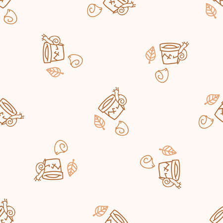 Seamless background snail on terracotta pot gender neutral pattern. Whimsical minimal earthy 2 tone color. kids nursery wallpaper or boho cartoon insect fashion all over print.