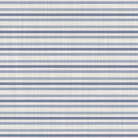 Seamless french farmhouse woven linen stripe texture. Ecru flax blue hemp fiber. Natural pattern background. Organic ticking fabric for kitchen towel material. Pinstripe material allover print