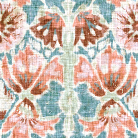 Seamless folklore india block print flower background. Arabesque ethnic soft furnishing fabric style. Soft painterly decorative pattern textile. Painterly blur linen raster all over print Stock Photo