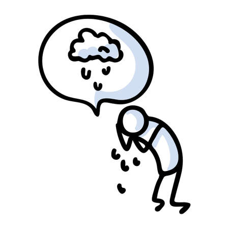 Hand drawn stickman sad crying concept with speech bubble. Simple outline mental health doodle icon clipart. For depression awareness sketch illustration. 向量圖像