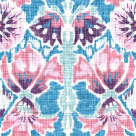 Seamless folklore india block print flower background. Arabesque ethnic soft furnishing fabric style. Soft painterly decorative pattern textile. Painterly blur linen raster all over print Foto de archivo