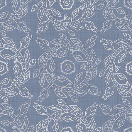 Seamless french farmhouse damask linen pattern. Provence blue white woven texture. Shabby chic style decorative fabric background. Textile rustic all over print Reklamní fotografie