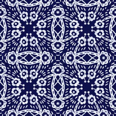 Indigo blue flower block print dyed linen texture background. Seamless woven japanese repeat batik pattern swatch. Floral organic distressed blur block print all over textile. Imagens