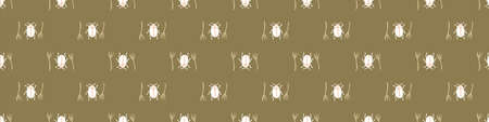 Seamless background beetle insect gender neutral baby border pattern. Simple whimsical minimal earthy 2 tone color. Kids nursery wildlife bug edging fashion trim.