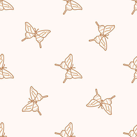 Seamless background butterfly gender neutral pattern. Whimsical minimal earthy 2 tone color. kids nursery wallpaper or boho cartoon insect fashion all over print. Illusztráció