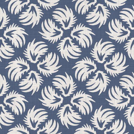 Seamless french farmhouse foliage linen pattern. Provence blue white woven texture. Shabby chic style decorative leaf fabric background. Textile rustic all over print Stock fotó