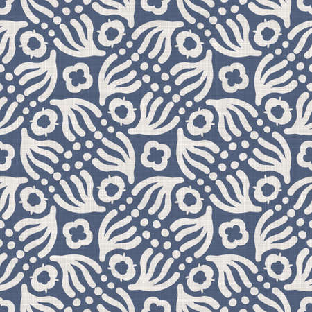 Seamless french farmhouse linen summer block print background. Provence blue gray linen rustic pattern texture. Shabby chic style old woven flax blur. Textile all over print. Stock fotó