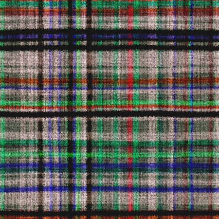 Variegated multicolor tapestry plaid woven texture. Space dyed watercolor effect knit check background. Fuzzy thin grungy textile material. Tufted boucle carpet rug fabric effect. Stock fotó