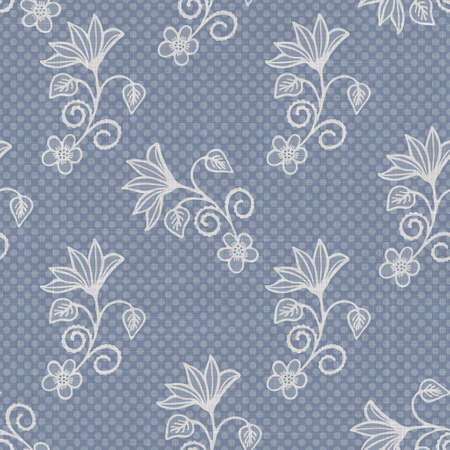 Seamless french farmhouse linen printed floral damask background. Provence blue gray linen pattern texture. Shabby chic style woven blur background. Textile rustic all over print Stock fotó