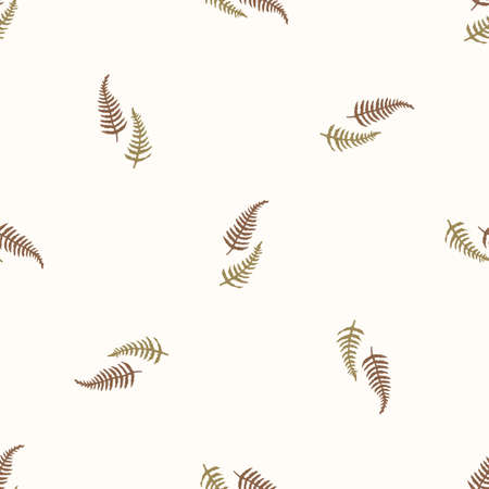 Seamless background countryside fern gender neutral pattern. Whimsical minimal earthy 2 tone color. kids nursery wallpaper or boho cartoon forest plant fashion all over print.